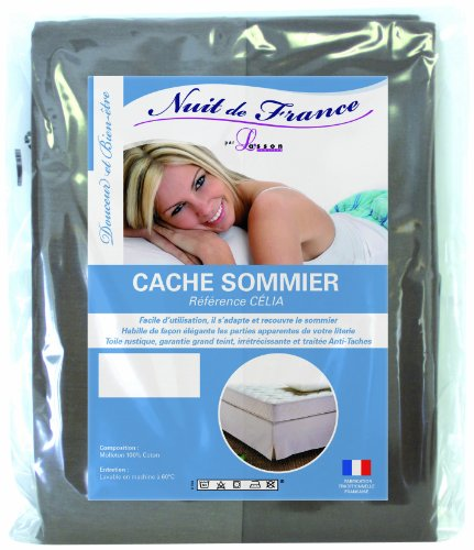 Nuit de France 329372 160/200 Cache Sommier Déco Coton Taupe 200 x 160 x 1 cm