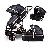 Znesd Bébé 3 en 1 bébé avec chariot réversible convertible assinet et choc, stockage extra-large, Construction Durable, Design compact pliable (Color : Black)