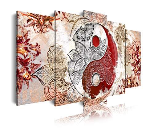 DekoArte 509 - Cuadros Modernos Impresión de Imagen Artística Digitalizada | Lienzo Decorativo Para Tu Salón o Dormitorio | Estilo Ying Yang Abstractos Zen Colores Beig Rojo | 5 Piezas 150 x 80 cm
