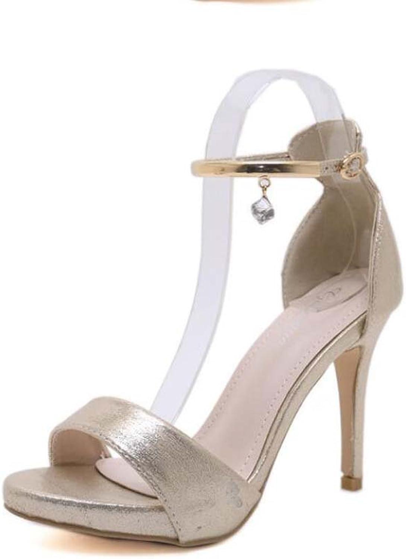 10.5cm Stiletto Anklel Strap Sandals Women Pump Open Toe D'Orsay Dress shoes Wedding shoes Sexy Pure color Belt Buckle OL Court shoes Roma shoes EU Size 34-40