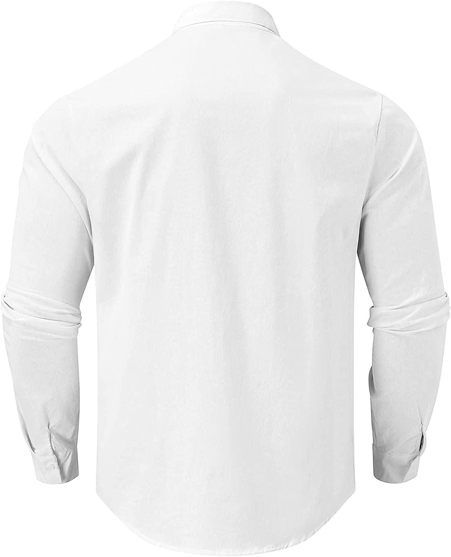 Xiloccer Mens Long Sleeve Button Up Shirts Casual Dress Shirts Cool T Shirts for Men Winter Men's Henley Shirts & Tops