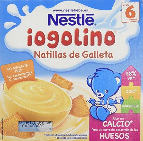 Nestlé Iogolino - Alimento infantil, natillas con galleta - Paquete de 4 x 100 gr - Total: 400 gr - , Pack de 6