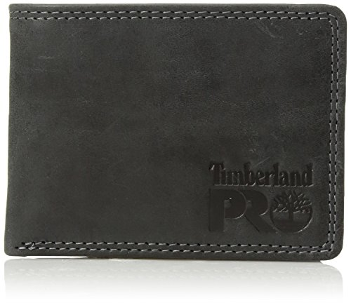 Timberland PRO Men's Leather RFID Wallet with Removable Flip Pocket Card Carrier, black/brandy, One Size