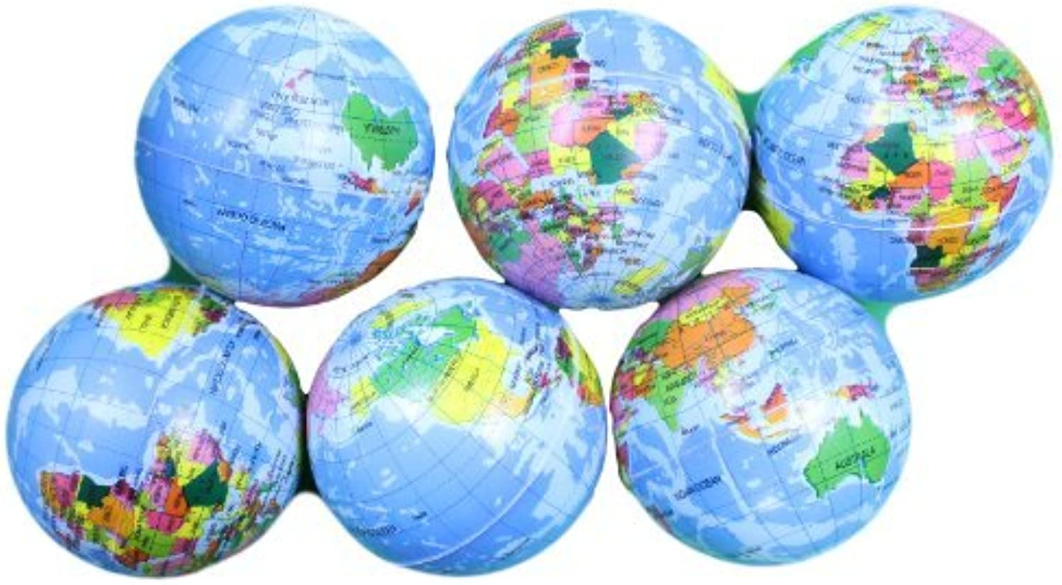 4 Inch Foam Stress Earth Globe Balls Lot of 6 Pieces (Great for classrooms ) by Wii