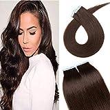 Tape Extensions Echthaar Klebe Haarverlängerung Glatt Weich Haarteil Günstig Human Hair 20 Stücke 50 Gramm 40cm 02# Dunkelbraun