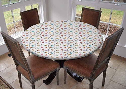 Ronde tafelkleed keuken decoratie, tafelblad met elastische randen, Herhalen Graphic Elektrische Gitaren in Diagonal Order Rock Music Band Liedjes Rood Zwart Wit, camping tafelkleed