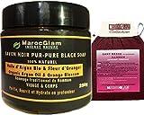 Schwarze Seife mit Bio-Arganöl und Orangenblüte 250 g + luxuriöser Kessa-Handschuh für Peeling...
