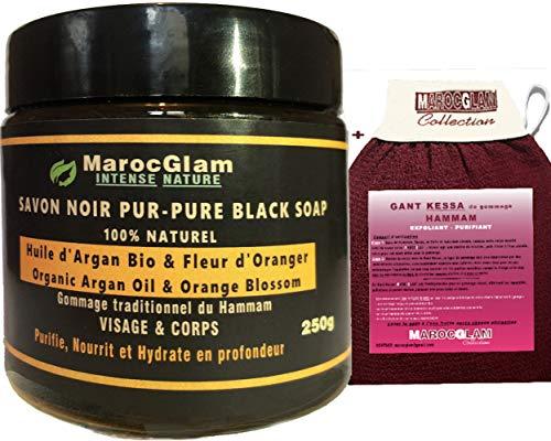 Savon Noir à l'Huile d'Argan Bio et fleur d'oranger 250g + Gant Kessa luxueux pour gommage corps et visage - gommage naturel Hammam et SPA: Exfoliant - Purifiant- hydratant
