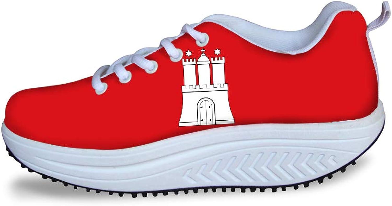 Owaheson Swing Platform Toning Fitness Casual Walking shoes Wedge Sneaker Women The Hanseatic League Hamburg Flag