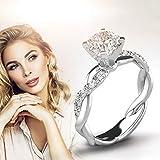 Anello da sposa in argento con zircone e diamante elegante, anello di fidanzamento di matrimonio F Taglia unica
