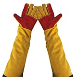 23.6' Inch Long Sleeves Welding Safety Gloves, Lined And Kevlar Stitching Welders Gauntlets Wood Burners Accessories Gloves, Heat Resistant Stove Fire And Barbecue Gloves (23.6 Inches)
