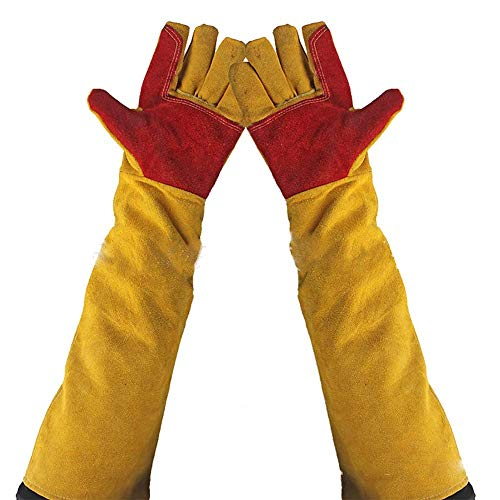 """23.6"""" Inch Long Sleeves Welding Safety Gloves, Lined And Kevlar Stitching Welders Gauntlets Wood Burners Accessories Gloves, Heat Resistant Stove Fire And Barbecue Gloves (23.6 Inches)"""