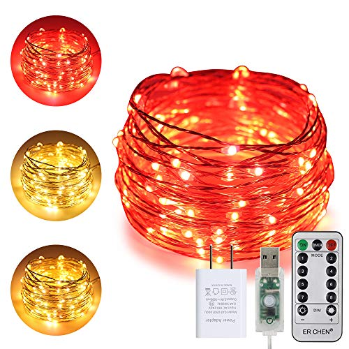 ErChen USB Dual-Color Led String Lights, 33FT 100 LEDs Color Changing Dimmable 8 Modes Silver Copper Wire Fairy Lights with Remote Timer for Indoor Outdoor Christmas (Warm White, Red)