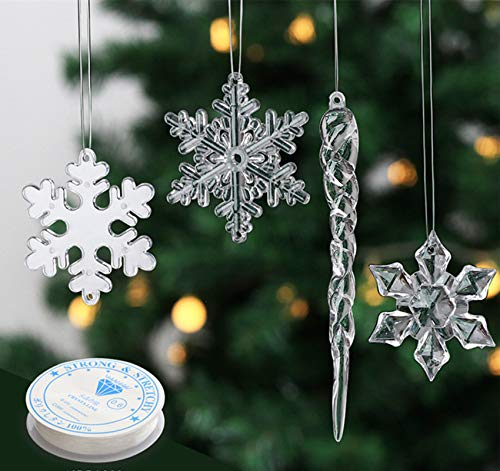 Anstore 24PCS Clear Acrylic Icicle Snowflake Ornaments, Crystal Hanging Pendants for Christmas Tree Wedding Birthday Party Holiday Winter Decoration