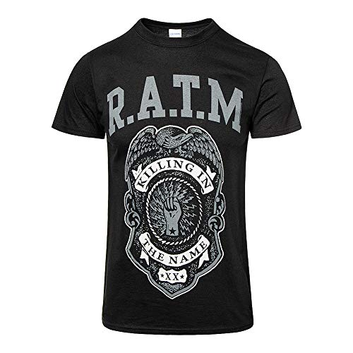 Rage Against The Machine 'Grey Police Badge' (Black) T-Shirt (Small)