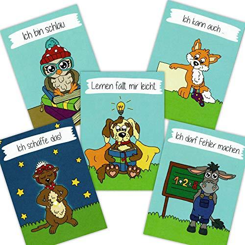 Affirmationskarten für Kinder DIN A6 - Schule Lernen - Mentaltraining, Kinder stärken, positives Denken, Affirmationen Karten für Schule und Unterricht