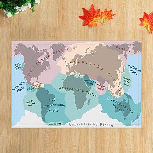 ottbrn Aquarel wereldkaart keuken badkamer tapijten tektonische platen van planeet aarde voor kinderopvang antislip voetmat vloer ingangen binnendeur mat kinderen badmat 15,7 x 21,6 inch