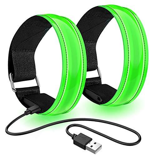 Led Armband Aufladbar, 2 STK Leuchtarmband USB Reflektorband Reflective Band Led Armbänder Leuchtband Kinder Reflektorbänder für Joggen Laufen Sport, Grün