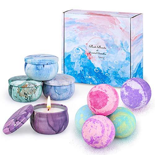 Bombas de Baño 5 con 4 Vela perfumada, OFUN Sales de Baño Relajantes de Spa, Baño de burbujas naturales y orgánicas, Regalos para Cumpleaños, Aniversario, Día de San Valentín, Día de la Madre