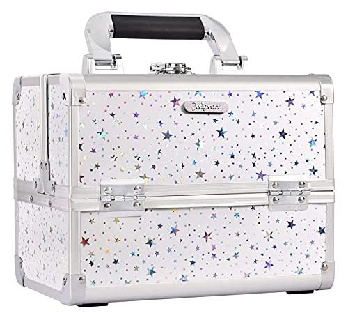 ジュエリーボックス メイクアップボックスの虚栄心の箱の化粧品オーガナイザーボックス美容収納機械ケースミラー付き、キー付きロック可能 ジュエリー収納ボックス
