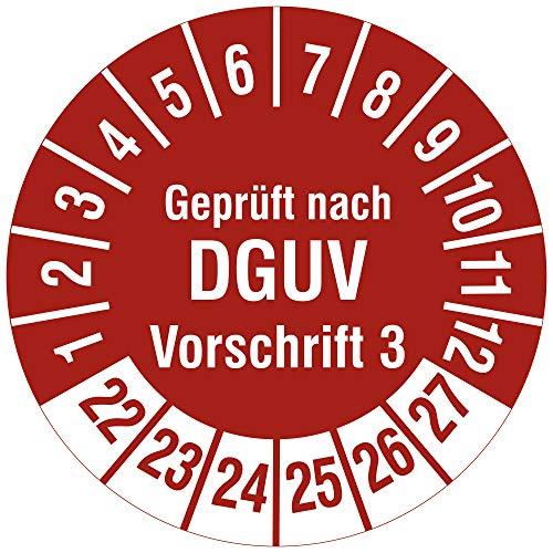 Labelident Mehrjahresprüfplakette 2022-2027 - Geprüft nach DGUV Vorschrift 3 - Ø 30 mm, 1000 widerstandsfähige Prüfplaketten auf Rolle, Vinyl, rot, selbstklebend