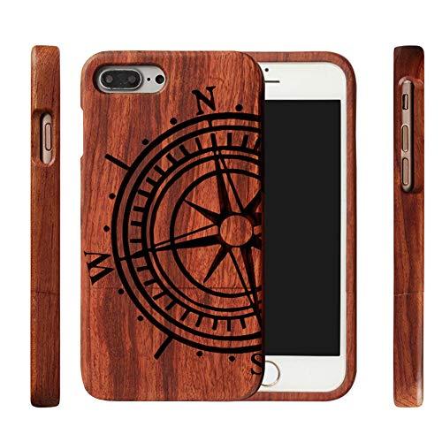 Serired Caja de Madera para Teléfono, Placa Trasera Madera Bambú Natural, Tatuajes, Tótem, Cubierta Protectora Antideslizante Sólida para iPhone 5, 6, 7 y 8 Plus, Etc,Compass,IPhone5/5s/5se