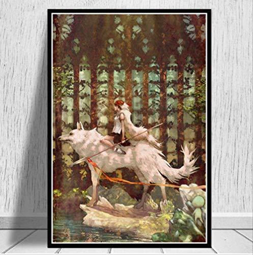Poster Und Drucke Prinzessin Mononoke Film Japan Anime Moderne Malerei Wandkunst Leinwand Wandbilder Wohnzimmer Wohnkultur 50 * 70 cm Kein Rahmen