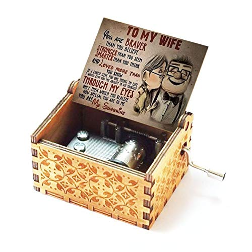 Evelure Holz-Spieluhr, Geschenk für die Ehefrau, antik, handgeschnitzt, aus Holz, Heimdekoration, Geschenkidee für Kinder