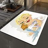 Alfombra Antideslizante Alfombra,Astrología, icono del zodiaco del acuario del bebé que juega el agua y e,Espuma de Memoria Piso Baño Alfombra Absorber Alfombra de baño Suave Alfombra de baño 50x80 cm