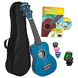 CASCHA - Ukelele soprano azul, pequeño hawaii guitarra para niños y adultos, con libro de ukelele, afinador, bolsa, 3 púas y cuerdas Aquila