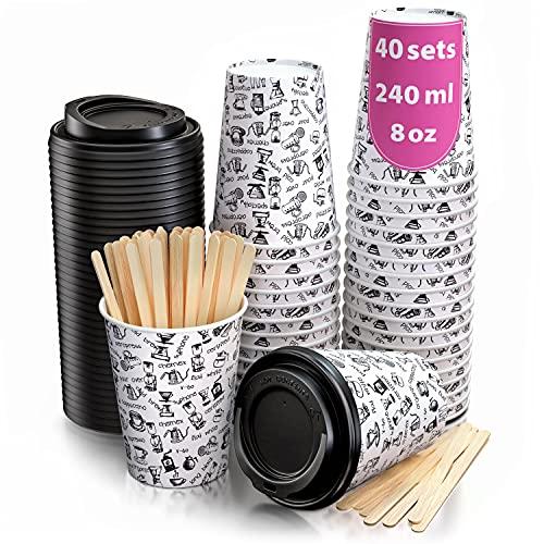 40 Vasos Desechables de Café para Llevar - Vasos Carton 240 ml con Tapas y Agitadores de Madera para Servir el Café, el...
