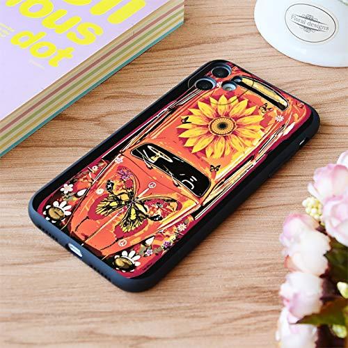 Moda Girasol Coche Impresión Suave Mate Funda De Teléfono Para Iphone 6 7 8 11 12 Plus Pro Xr Xs Max Se, A Prueba De Golpes, Anti-Arañazos Protección Contra Caídas Cubierta Del Teléfono, Para Ip