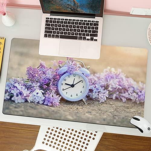 Alfombrilla para ratón (80x30 cm). Reloj Hora de Alarma Lila Flores Viejas en la Naturaleza Abstracta Ejecutar Enfoque AhorroBase Antideslizante. Especial para Gamer