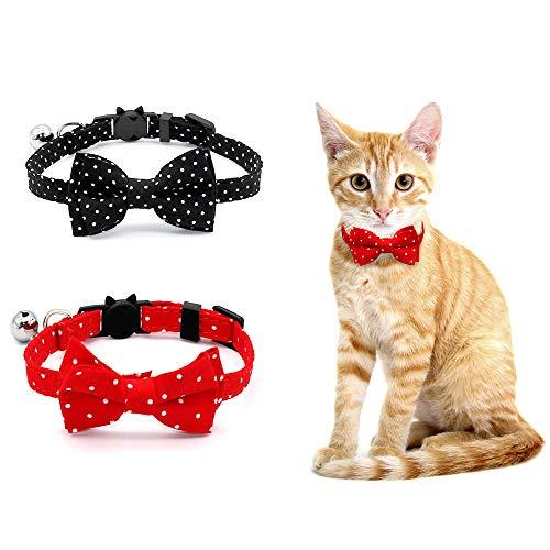 SLSON Collare per Gatti con Fiocco a Pois in Stile Francese 2 Pezzi con Fibbia di Sicurezza e Campana Staccabile,Collare Decorativo di Sicurezza Regolabile da 20cm a 28cm per Animali Domestici