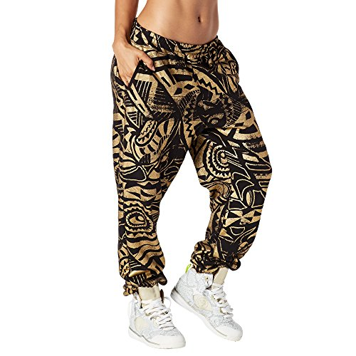 Zumba Aktiv Dance Sport Fitness Jogginghose Stilvoll Gym Lockere Hosen Damen, Back to Black, Large