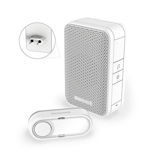 Honeywell Home Funk-Gong-Zwischenstecker-Set 6 Töne 84dB mit USB-Anschluss LED-Blitz Lautstärkeregler Schlafmodus, DC312SP2USB