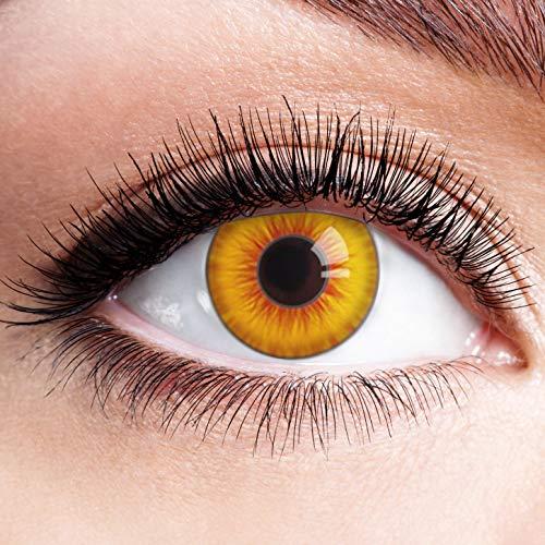 Farbige Kontaktlinsen Rot Gelb Ohne Stärke Motiv Eye Linsen Halloween Karneval Fasching Cosplay Kostüm Red Yellow Eyes Gelbe Rote Augen Fire Feuer Sun Sonne