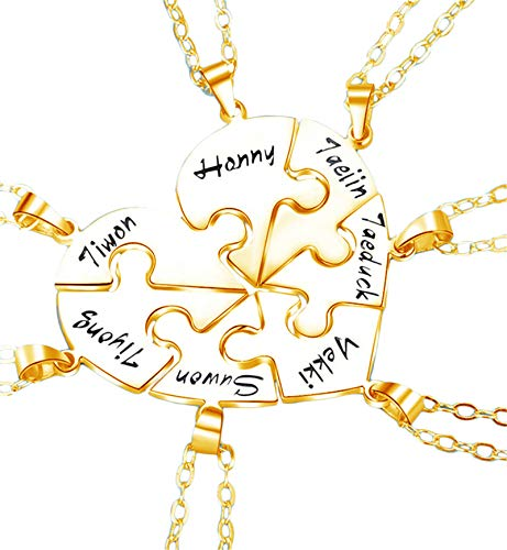 Customized Name Necklace Personalized Family Necklace Puzzle Pendant Engraved Name Promise Necklace Thanksgiving for Women(Gold 20)