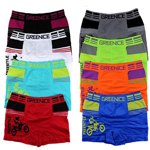 HighClassStyle 6er Pack Jungen Mikrofaser Boxershorts Kinder Unterhosen Kids Unterwäsche Größe 98-164 A.4354 (128-146 (10-12), Motorrad (4354))