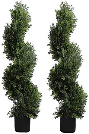 MOMO PLANT 3 Foot Topiary Tree Artificial Plants Cypress Leave Spiral Plant Faux Fake Trees product image