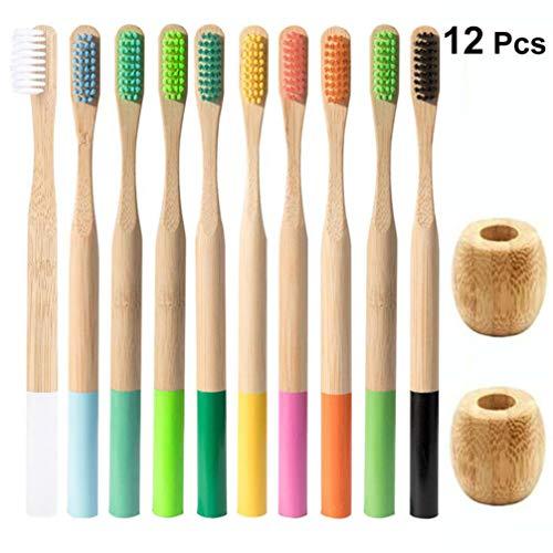 Artibetter 10St Zachte Tandenborstel Bamboe Tandenborstel Met 2St Tandenborstelhouder Voor Diep Reinigen Van de Mondholte Thuis Reizen