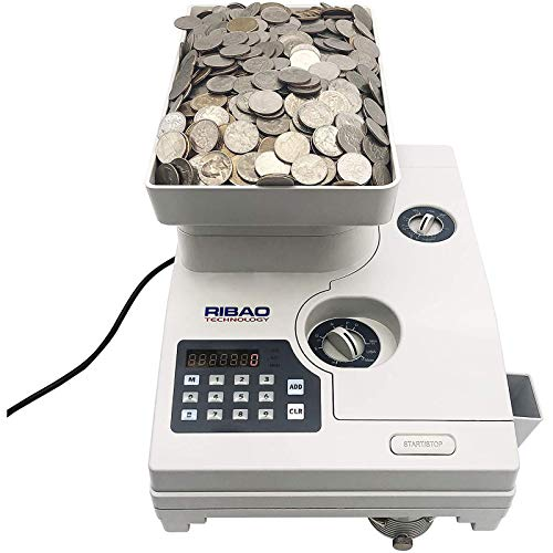 Ribao HCS-3300 Heavy Duty High-Speed Coin Counter with Large Hopper and Hopper Extender, Two-Year Warranty,Specially Designed for US & Canadian Coins