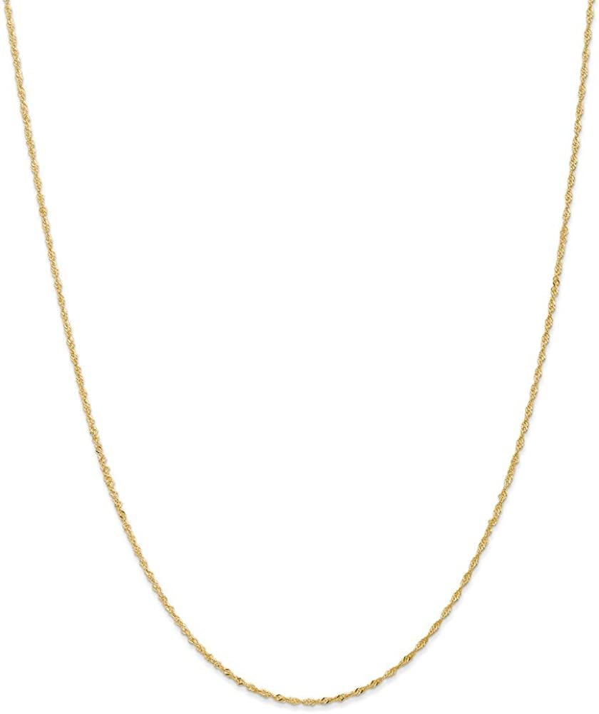 Solid 14k Yellow Gold 1.10mm Singapore Chain Necklace