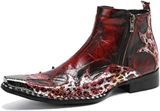 Bottine pour Hommes Haut de Botte Style Cowboy Slip on Haute Qualité en Cuir Véritable Exquis Luxueux Robe de Soirée Boots...