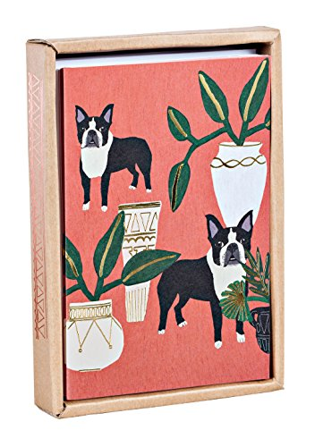 Dogs 'n' Plants Luxe Foil Notecard Box, all occasion blank notecards in a luxe foil patterned box
