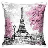 jonycm Cushion Cover Torre Eiffel París Pink Tree 45X45Cm Impresión Throw Funda De Almohada Funda De Almohada Sofá Cojines Duraderos Suave Sofá De Doble Cara con Cremallera Funda De Almo