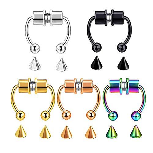 Keeptry Piercing falso para la nariz, diseño de herradura, con clip para la nariz, para mujeres, falso anillo de nariz reutilizable, falso espaciador nasal