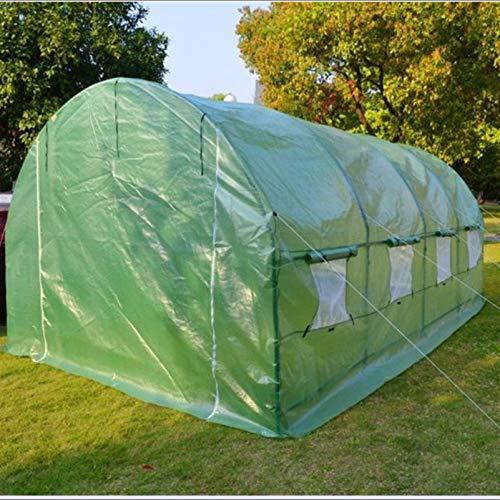 QWERTOUY Fournitures de Jardin Taille 6mx3mx2m Assez Fort 36 kg/Ensemble Grandes tentes de Tunnel à Effet de Serre Deux Portes avec Arche de fenêtre Couverture Isolante