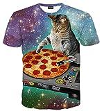 PIZOFF Unisex Digital Print Schmale Passform Katze T Shirts mit Katzen Cat 3D Muster AL067-28-M-RX