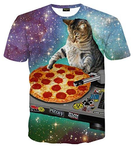 PIZOFF Unisex Digital Print Schmale Passform Katze T Shirts mit Katzen Cat 3D Muster 01120015X28+S
